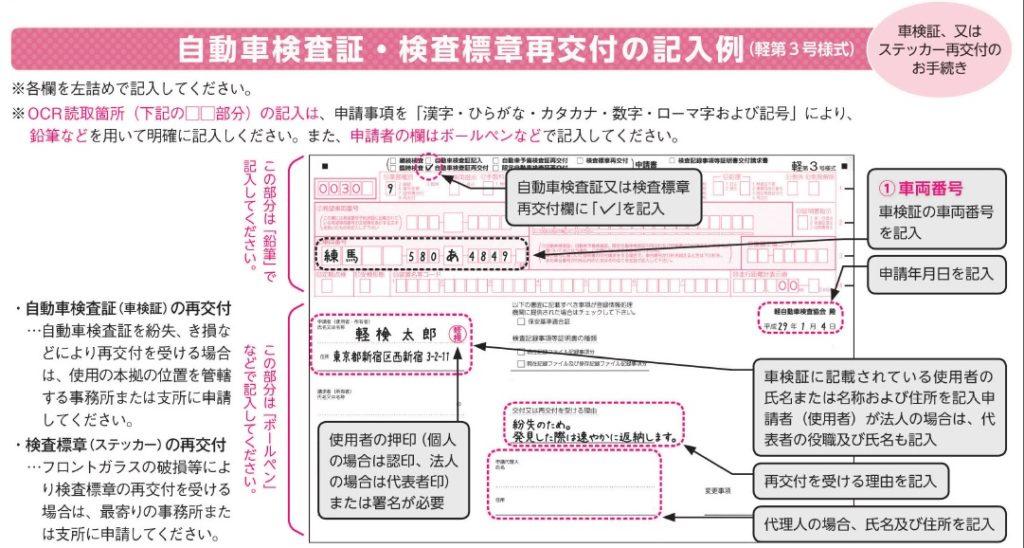 検査証検査標章再交付の記入例