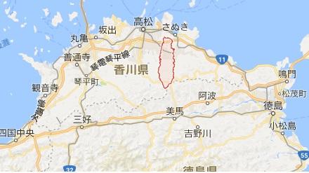 香川県木田郡のマップ画像