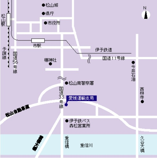 愛媛県運輸支局の地図画像